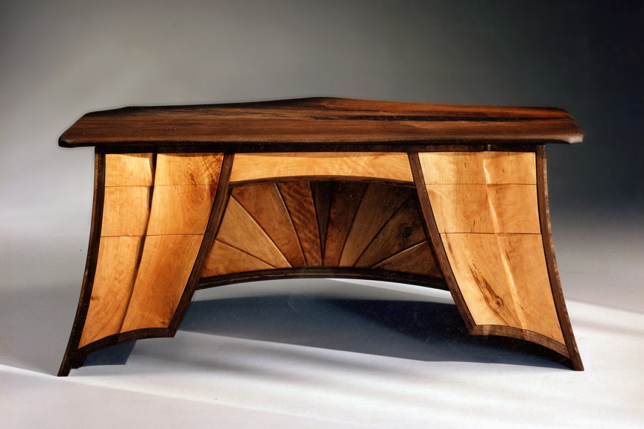 Walnut Desk, view one, Ray Kelso